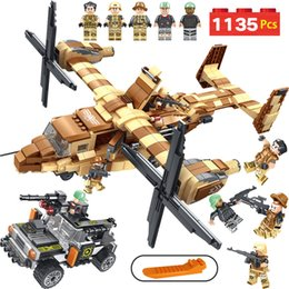 Build Toy Helicopter Australia - Military Series Building Blocks LegoINGLYS Technic Osprey Helicopter Modle Mini Action Figures Bricks Enlightening Toys