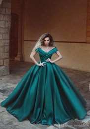 $enCountryForm.capitalKeyWord Australia - Chic Ball Gowns Evening Dresses Luxury Satin V Neck Capped Sleeve Pleated Floor Length Formal Party Dresses for Graduation Red Carpet Gowns