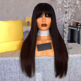 $enCountryForm.capitalKeyWord Australia - Straight Lace Front Wig Peruvian Virgin Hair Full Fringe Wig Human Hair Glueless Full Lace Wig With Bangs Bleached Knots For Black Women
