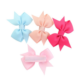 little girls bows Australia - Free DHL 20 Colors INS Baby Child Clippers Bow Hairpins Bows Ribbon Hair grips little Girls Solid Hair Clips Kids Hair Accessories Wholesale