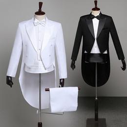 Tail coaT suiTs online shopping - Tuxedo Dress XS XL Men Classic Black Shiny Lapel Tail Coat Tuxedo Wedding Groom Stage Singer Piece Suits Dress Coat Tails Y191115