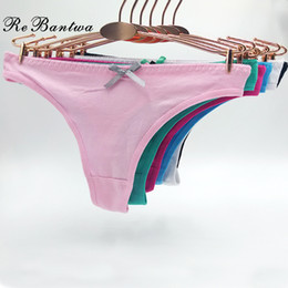 cheap sexy woman thongs Canada - Rebantwa 10pcs Lot Funny Underwear For Women Sexy G string Panties Solid Color Cute Thongs Knickers Cheap Cotton Panties Y200425