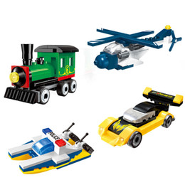 $enCountryForm.capitalKeyWord Australia - 4pc lot Children's Building Blocks Toy Compatible City Mini City Toy Helicopter Train Motorboat Sports Car Best Gifts J190719