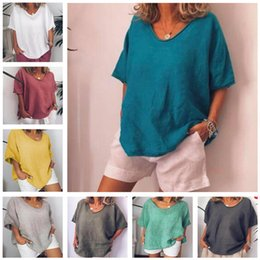 $enCountryForm.capitalKeyWord Australia - Summer Women T-shirt Soild Color T Shirt Short Sleeve Casual Tops Loose Cotton And Linen Shirts Catwing Sleeve Sports Blouse Party Clothing