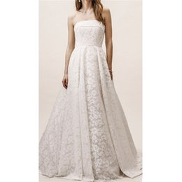 Beach Wedding Dress Sashes Australia - White Lace Beach Wedding Dresses 2019 Vintage Strapless Bridal Dresses With Sashes Plus Size Bridal Gowns Custom Country Wedding Gowns
