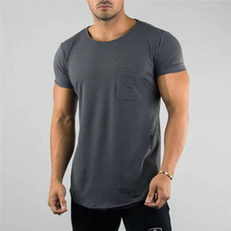 $enCountryForm.capitalKeyWord NZ - 2019 Men Summer Gym Casual Pocket Men Sports T Shirt Top Dry Fitness Runnging T shirt Bodybuilding Muscle Short Cotton Tee