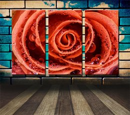 oil painting art wall decor Australia - Orange Rose Droplets,3 Pieces Canvas Prints Wall Art Oil Painting Home Decor (Unframed Framed) .