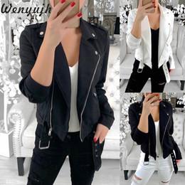 $enCountryForm.capitalKeyWord Australia - Wenyujh Women Motorcycle jacket diagonal Zipper design Short Coat femal lapel Riding Racing Jackets Moto Outwear Bike Clothing