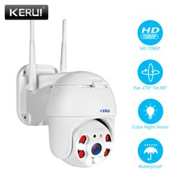 Chinese  KERUI Outdoor Waterproof Wireless 1080P 2MP PTZ WiFi IP Camera Speed Dome Camera H.264+ IR Home Security CCTV Surveillance T191018 manufacturers