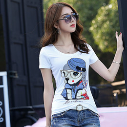 Discount hot business women office Hot Sale Summer Women's Cartoon T-Shirt Casual Crew Neck Diamonds Printed Channel Tops Office Lady Sexy Slim Busine