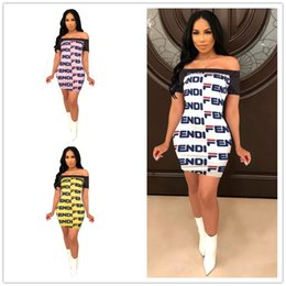 Wholesale off shoulder one piece dresses for sale – plus size F Letter Print Flat Off Shoulder Dresses Women Short Sleeve Causal Skirt Fashion Color Stitching Bodycon one piece dress Female Clothes C484