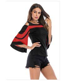 $enCountryForm.capitalKeyWord Australia - Women's T-shirts 2019 New Arrival Round Neck Retro Color Matching Fashion Leaking Shoulder Tshirt Trumpet Sleeve Back Zipper Womens Shirt