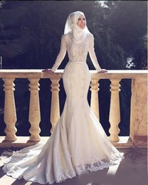 Wholesale 2019 Arabic Style New Arrival Charming Long Sleeves Lace Applique O Neck Hijab Mermaid Long Bridal Gowns Muslim