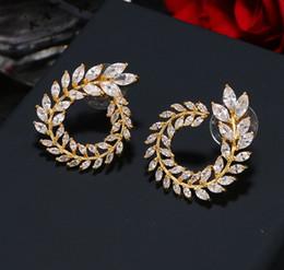 Leaf Shapes Plates Australia - 2019 New fashion 18K gold plated designer earrings leaf shape CZ crystal brass women earrings for party wedding Gift
