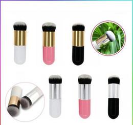 Flat Kabuki Makeup Brushes Australia - HOT Professional Liquid Foundation Brush Wood Handle Beauty Kabuki Brush Flat Synthetic Hair Makeup Brushes Free Shipping