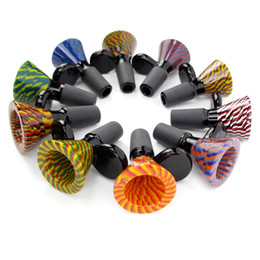 heady bong slide 2019 - Thick Bowl Piece Bong Glass Slide Water Pipes Colored Heady Slides Colorful Bowls Male 14mm Smoking Accessory Dab Rig di