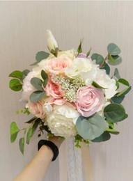 $enCountryForm.capitalKeyWord Australia - Custom French country wedding bouquet pink rose white eustoma flowers leaves bridal bouquet
