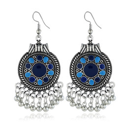 $enCountryForm.capitalKeyWord Australia - Prevent allergy Retro round metal tassel ball Pendant earrings hollow pattern drip long earrings for crazy girl evening party