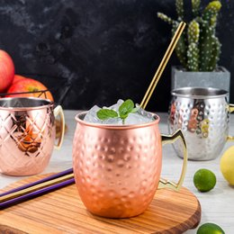Wholesale Copper Mug Stainless Steel Beer Cup Moscow Mule Mug Rose Gold Hammered Copper Plated Drinkware MMA2311