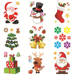 $enCountryForm.capitalKeyWord UK - 2020 New Shop Window Refrigerator Snowman Santa Claus SnowFlake Gifts Christmas Tree Wall Sticker Decorations For Home Stickers