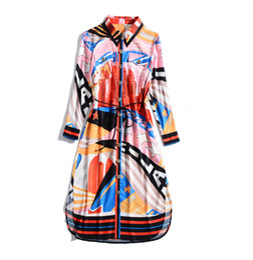 Wholesale long shirts dresses for sale – plus size 2019 Summer Fall Long Sleeve Lapel Neck Striped Stars Print Loose Mid Calf Length Dress Luxury Runway Shirt Dresses JN281516JYJ