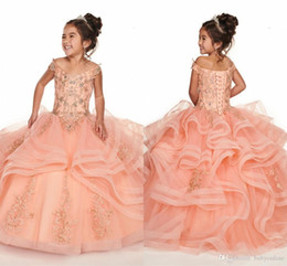 Tier Ruffles Coral Girl Pageant Dresses 2020 New Off the Shoulder Corset Back Flower Girl Dress With Beads Crystals For Teens Party Dress on Sale