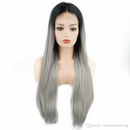$enCountryForm.capitalKeyWord Australia - Hot Sexy Long Straight Wigs 24inch Dark Root Black Grey Ombre Half Hand Tied Heat Resistant Glueless Synthetic Lace Front Wigs for Women