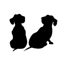 truck windshield decals 2020 - wholesale 20pcs lot Dachshund Puppies Dog vinyl Decals Car sticker For SUV Truck Boat Bumper Home Wall Black Sliver 13*1