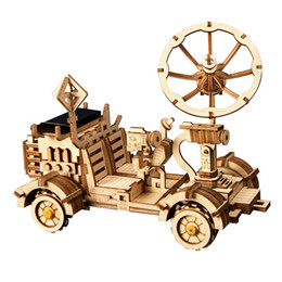 Wholesale AOSST Moveable Moon Buggy Solar Energy Toy D DIY Laser Cutting Wooden Model Building Kits Gift for Children Adult LS401