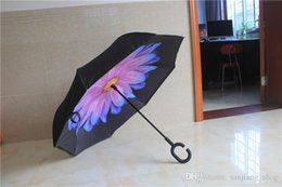 special umbrella NZ - Inverted Umbrella Double Layer Reverse Rainy Sunny Umbrella with C and J Handle Self Standing Inside Out Special Design new