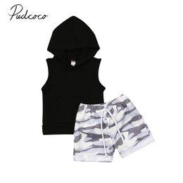 $enCountryForm.capitalKeyWord Australia - 2019 Baby Summer Clothing Toddler Kids Boy Casual Clothes Sleeveless Black Hooded T Shirt Tee Top +Camo Shorts Pants Outfits Set