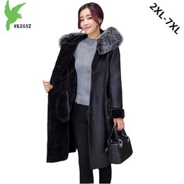 fat woman breast Australia - Plus Size 7XL Boutique Women Winter Imitation PU Fur Coat New Fashion Solid Color Hooded Fur Collar Fat MM Leather Jacket OKXGNZ