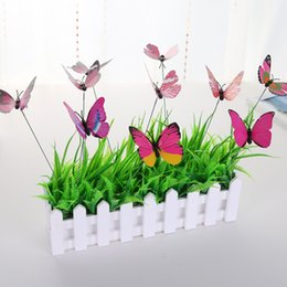 Wholesale Artifical Butterfly Stakes With Long Stem Plunger Rod Plastic Pinrail Christmas Outdoor Gardening Indoor Plant Decorations ym D1