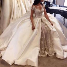 $enCountryForm.capitalKeyWord NZ - Luxury A-Line Split Wedding Dresses Sheer Neck Short Sleeves Beads Lace Applique Wedding Gowns Glamorous Dubai Wedding Dress With Overskirt