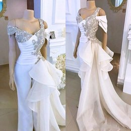 suit side split NZ - 2020 Elegant White Prom Dresses Jumpsuit with Crystal Detachable Side Peplum Tail Off shoulder Mermaid Evening Gown Pant Suit