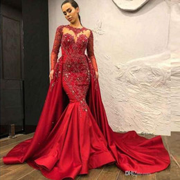 Overskirt dresses online shopping - Dubai Arabic Modest High Neck Red Evening Prom Dresses With Detachable Overskirt Sheer Long Sleeve Appliques Beads Satin Long Pageant Gowns