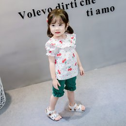 $enCountryForm.capitalKeyWord NZ - Kawaii Girls Summer Clothes Cotton Fruit Cherry Printed Sports Suit for Baby Girl Falbala T-Shirt + Cute Bloomers Children's Clothing
