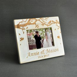 bamboo photo frames Australia - Vintage Wedding Photo frame, Custom Wooden Wedding Couple Pictures Frames, Personalized Rustic Wedding Gift, 5 inch photo SH190918