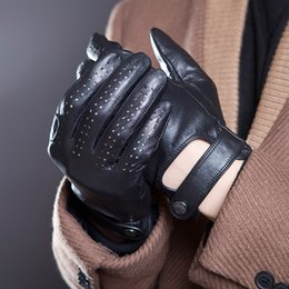 white leather mittens UK - Spring Summer Men's Genuine Leather Gloves 2020 New Touch Screen Gloves Fashion Breathable Black Gloves Sheepskin Mittens JM14