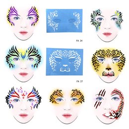Painting Faces Australia - OPHIR Face Template Reusable Face Painting Stencil for Party Temporary Tattoo Template Body Painting Stencil 7PCS FA(23-29)