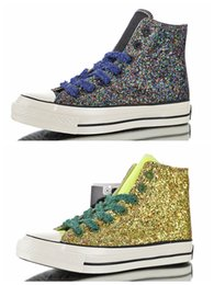 womens flat shoes glitter UK - J.W.Anderson x CHUCK 70s 2.0 HI Glitter All Casual Canvas Shoes 1970s Mens Trainers Sports Star Womens Designer Sneakers 36-44