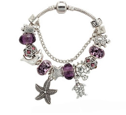 Silver 925 Starfish Bracelet Australia - European 925 Sterling Silver Murano Glass Beads Bracelets Purple Crystal Starfish Turtle Pendant Charms Beads Women Fit Pandora DIY Jewelry