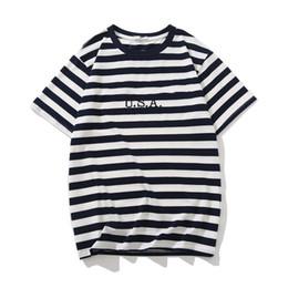 Джинсы США Мужские футболки в полоску Летняя мода Дизайнер вышивки Тис с короткими рукавами Топы Одежда на Распродаже