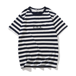 Long sLeeved t shirt men online shopping - Jeans USA Mens Striped T shirts Summer Fashion Embroidery Designer Tees Short Sleeved Tops Clothes