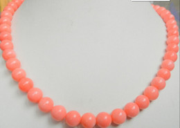 8mm Red Coral Beads Australia - necklace Free shipping ++++906 Jewelry Necklace pink coral 8mm round beads