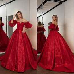 Discount yellow ball gowns prom dresses Elegant Red Ball Gown Evening Dresses Long Off Shoulder Sweetheart Sequined Appliques Beaded Formal Dress Quinceanera Dress Prom Gowns 163
