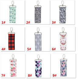 $enCountryForm.capitalKeyWord Australia - Printed Lipstick holder Chapstick Holder Keychain Pouch Bag Lip Palm Floral Leopard Stripe Keyring Storage Bag For Girls Gifts HH9-2249