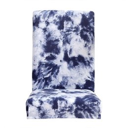 Blue Spandex Chair Australia - Cover Spandex Stretch Elastic Slipcovers Chair Removable Slipcover Graffiti Pattern Thin Stretch Chair Cover Navy Blue