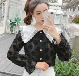 76a7737184de New Arrival Hot Sale Special Fashion Female Korean Version Super Fairy  Chiffon Loose Doll Collar Trumpet Sleeve Lotus Leaf Top Tide Shirts