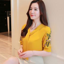 Wholesale v neck formal tops plus size online – Women Tops Blouse Woman Office Women Lady Floral Shirt Blouse Short Sleeve Summer Plus Size Embroidery Women Clothing Blusas